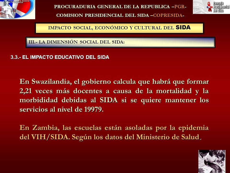 IMPACTO SOCIAL, ECONÓMICO Y CULTURAL DEL SIDA III.- LA DIMENSIÓN SOCIAL DEL SIDA: PROCURADURIA GENERAL DE LA REPUBLICA –PGR- COMISION PRESIDENCIAL DEL SIDA –COPRESIDA- 3.3.- EL IMPACTO EDUCATIVO DEL SIDA En Swazilandia, el gobierno calcula que habrá que formar 2,21 veces más docentes a causa de la mortalidad y la morbididad debidas al SIDA si se quiere mantener los servicios al nivel de 19979.
