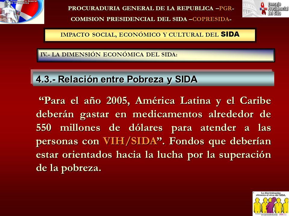 PROCURADURIA GENERAL DE LA REPUBLICA –PGR- COMISION PRESIDENCIAL DEL SIDA –COPRESIDA- 4.3.- Relación entre Pobreza y SIDA IV.- LA DIMENSIÓN ECONÓMICA DEL SIDA: IMPACTO SOCIAL, ECONÓMICO Y CULTURAL DEL SIDA Para el año 2005, América Latina y el Caribe deberán gastar en medicamentos alrededor de 550 millones de dólares para atender a las personas con VIH/SIDA.
