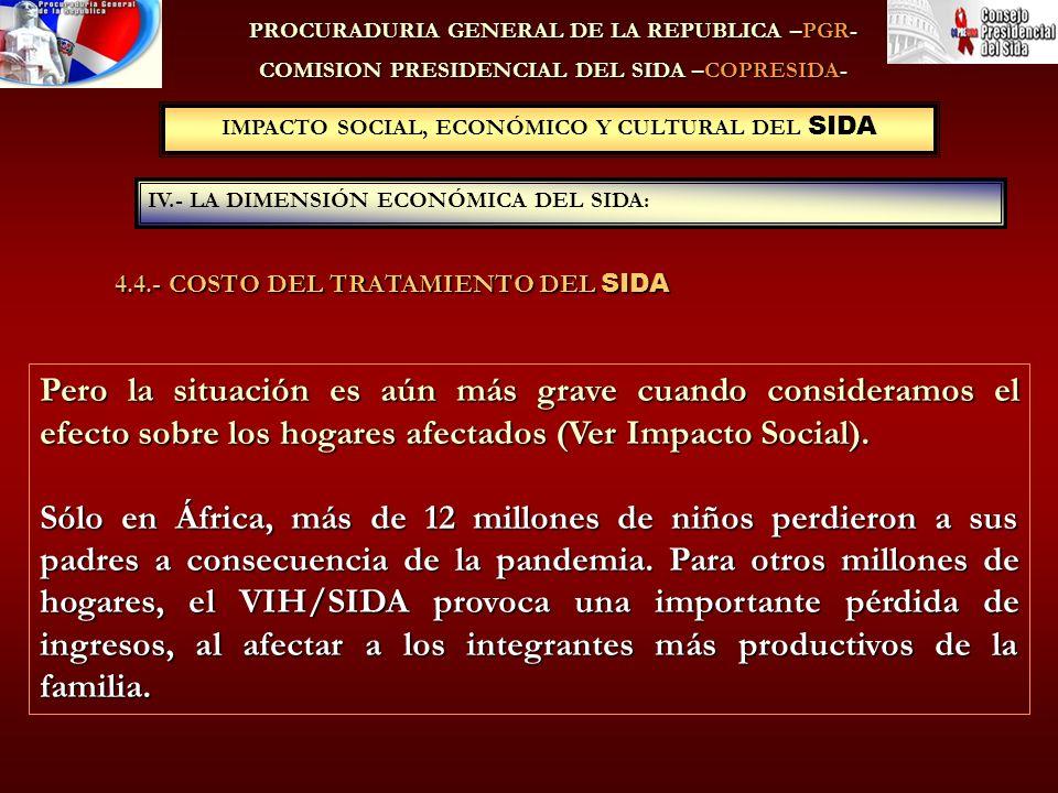PROCURADURIA GENERAL DE LA REPUBLICA –PGR- COMISION PRESIDENCIAL DEL SIDA –COPRESIDA- IV.- LA DIMENSIÓN ECONÓMICA DEL SIDA: IMPACTO SOCIAL, ECONÓMICO Y CULTURAL DEL SIDA Pero la situación es aún más grave cuando consideramos el efecto sobre los hogares afectados (Ver Impacto Social).