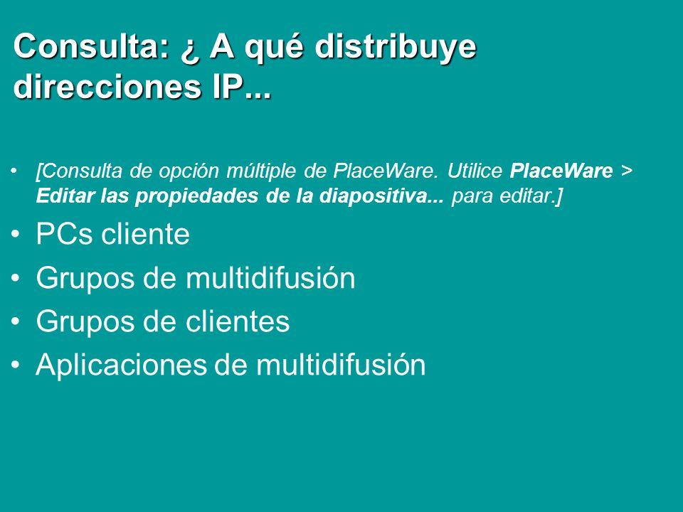 Consulta: ¿ A qué distribuye direcciones IP... [Consulta de opción múltiple de PlaceWare. Utilice PlaceWare > Editar las propiedades de la diapositiva