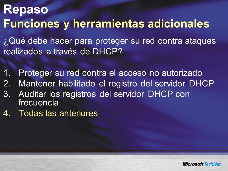 ¿Qué debe hacer para proteger su red contra ataques realizados a través de DHCP? 1.Proteger su red contra el acceso no autorizado 2.Mantener habilitad