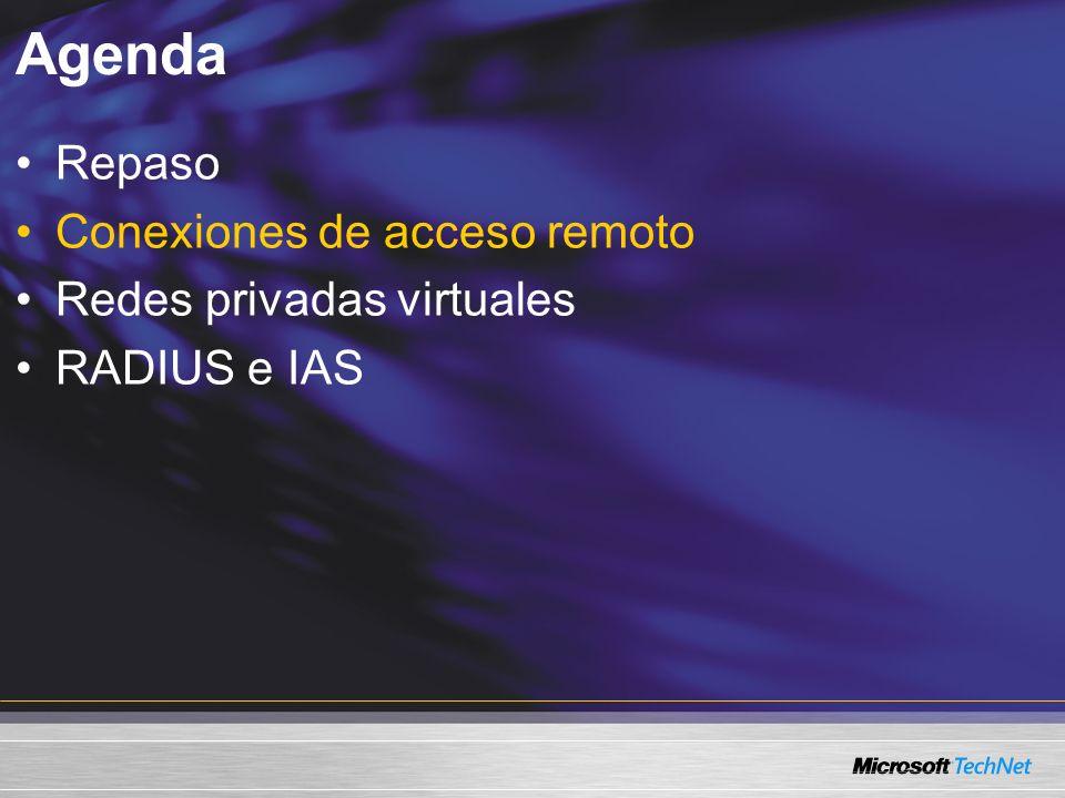 Agenda Repaso Conexiones de acceso remoto Redes privadas virtuales RADIUS e IAS