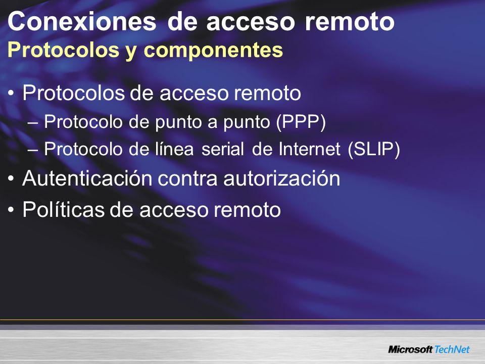 Protocolos de acceso remoto –Protocolo de punto a punto (PPP) –Protocolo de línea serial de Internet (SLIP) Autenticación contra autorización Política