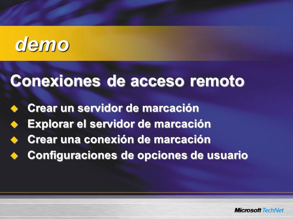 Conexiones de acceso remoto Crear un servidor de marcación Crear un servidor de marcación Explorar el servidor de marcación Explorar el servidor de ma