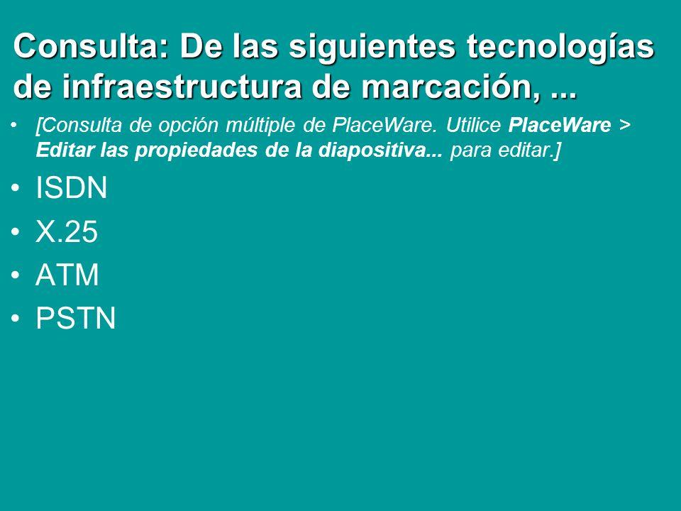 Consulta: De las siguientes tecnologías de infraestructura de marcación,... [Consulta de opción múltiple de PlaceWare. Utilice PlaceWare > Editar las