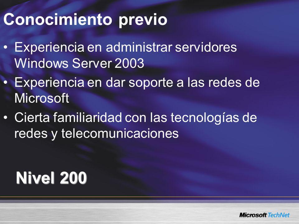 Conocimiento previo Nivel 200 Experiencia en administrar servidores Windows Server 2003 Experiencia en dar soporte a las redes de Microsoft Cierta fam