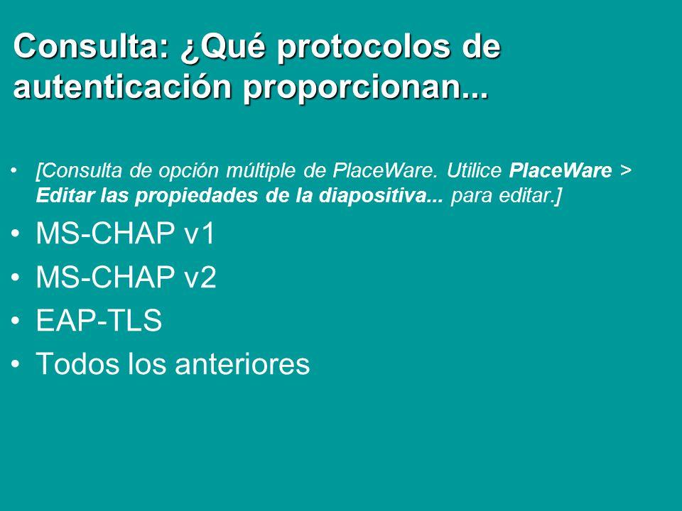 Consulta: ¿Qué protocolos de autenticación proporcionan... [Consulta de opción múltiple de PlaceWare. Utilice PlaceWare > Editar las propiedades de la