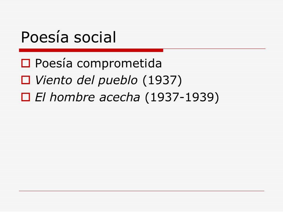 Poesía social Poesía comprometida Viento del pueblo (1937) El hombre acecha (1937-1939)