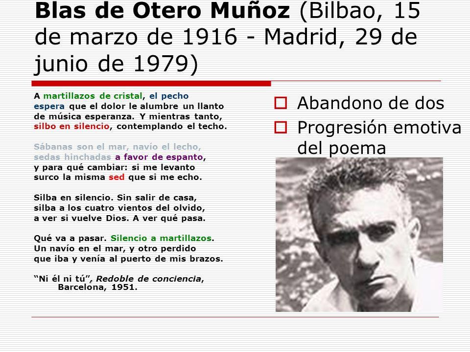 Blas de Otero Muñoz (Bilbao, 15 de marzo de 1916 - Madrid, 29 de junio de 1979) A martillazos de cristal, el pecho espera que el dolor le alumbre un l