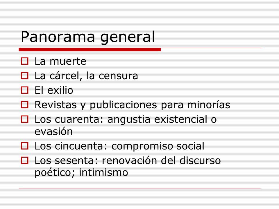 Panorama general La muerte La cárcel, la censura El exilio Revistas y publicaciones para minorías Los cuarenta: angustia existencial o evasión Los cin