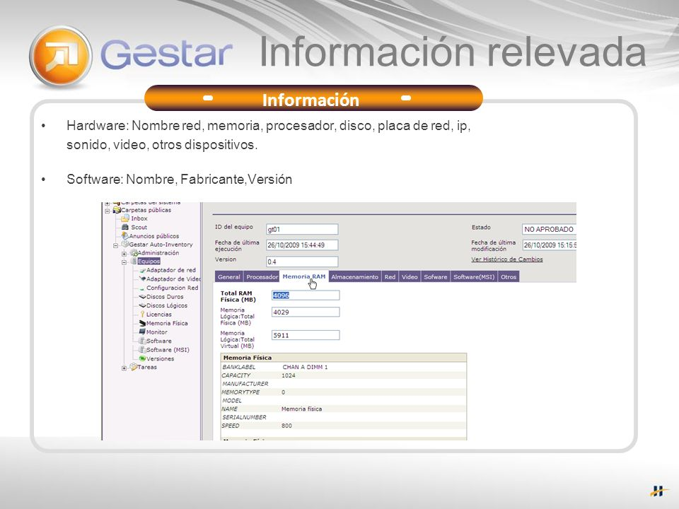 Información relevada Hardware: Nombre red, memoria, procesador, disco, placa de red, ip, sonido, video, otros dispositivos. Software: Nombre, Fabrican