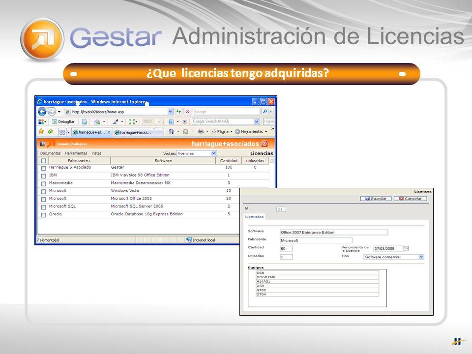 Administración de Licencias Gestar Deck ¿Que licencias tengo adquiridas?