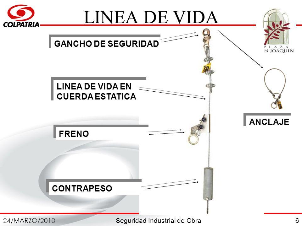 Seguridad Industrial de Obra 24/MARZO/2010 6 LINEA DE VIDA CONTRAPESO FRENO GANCHO DE SEGURIDAD LINEA DE VIDA EN CUERDA ESTATICA ANCLAJE