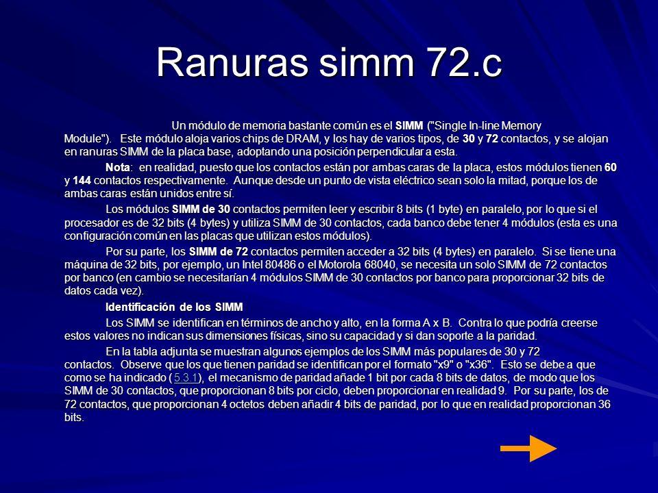 Ranuras simm 72.c Un módulo de memoria bastante común es el SIMM (
