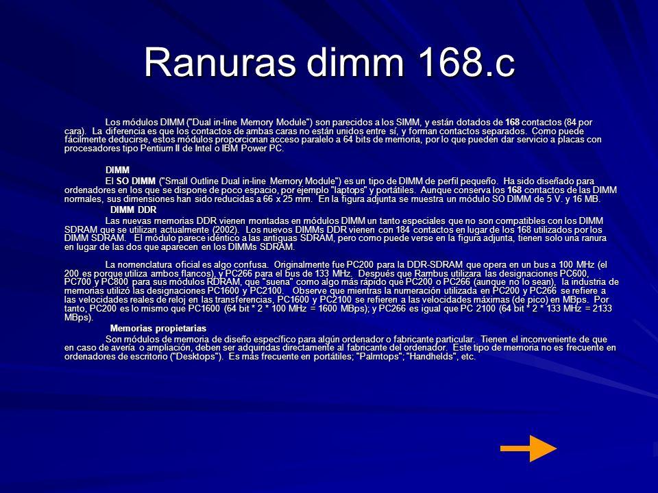 Ranuras dimm 168.c Los módulos DIMM (