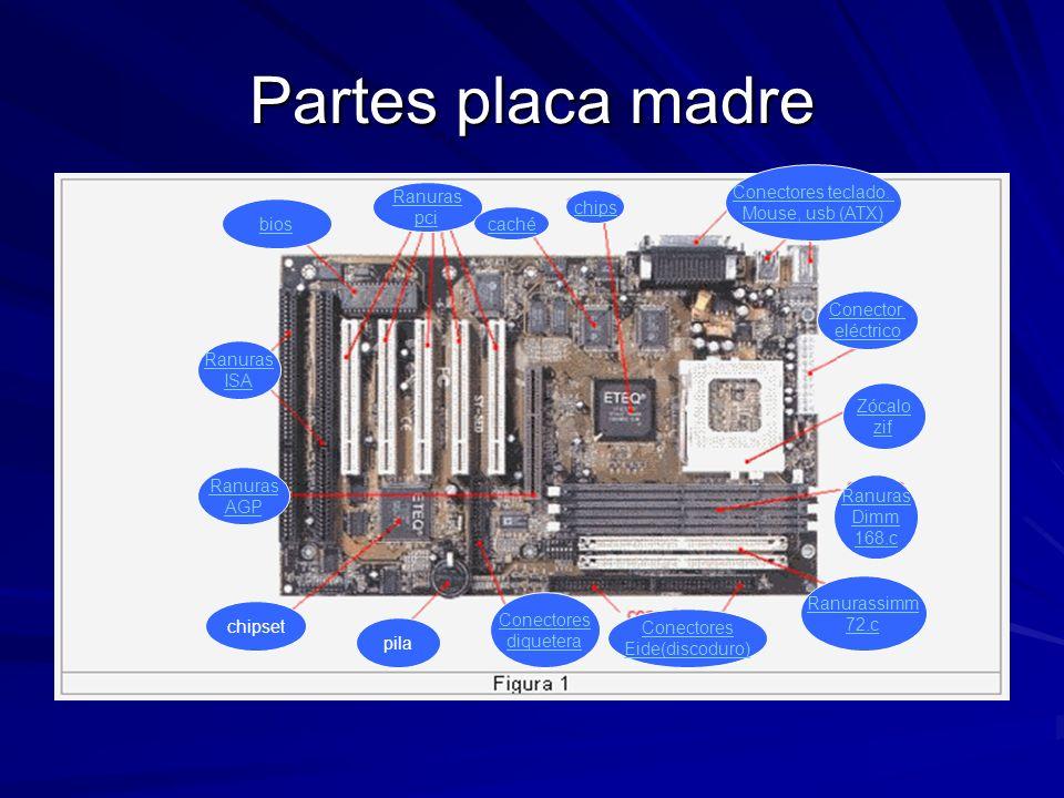 Partes placa madre Ranuras AGP Ranuras ISA bios Ranuras pci caché chips Conectores teclado. Mouse, usb (ATX) Conector eléctrico Zócalo zif Ranuras Dim