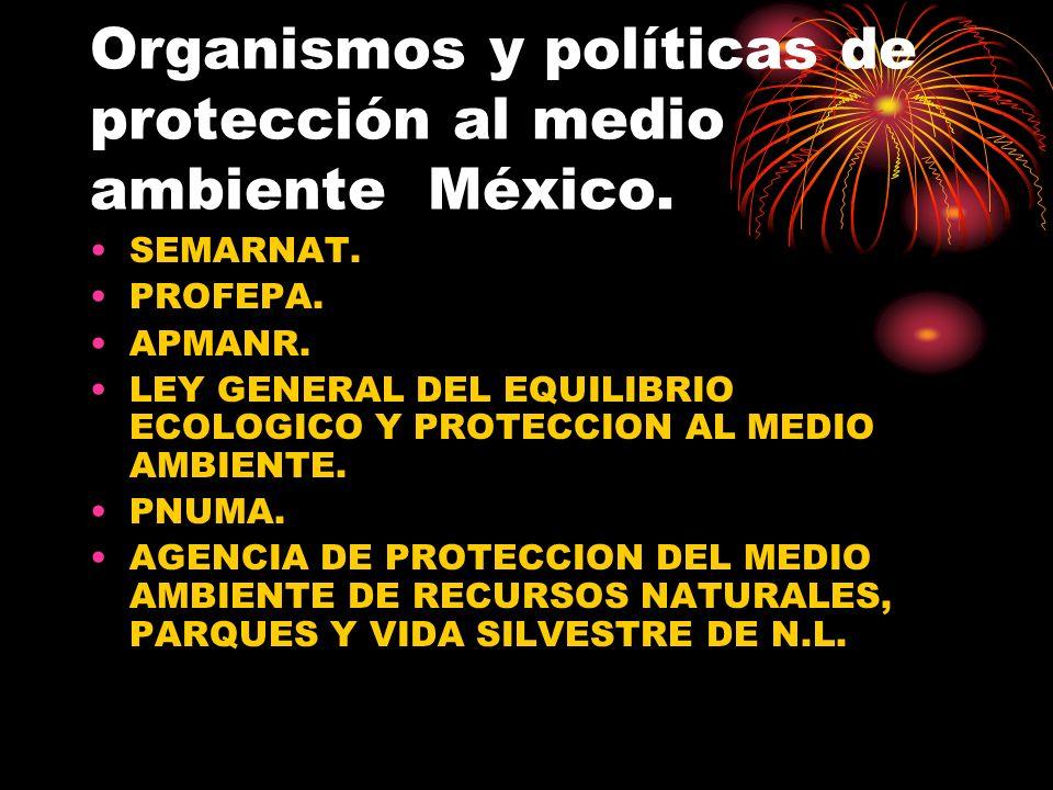 Organismos y políticas de protección al medio ambiente México. SEMARNAT. PROFEPA. APMANR. LEY GENERAL DEL EQUILIBRIO ECOLOGICO Y PROTECCION AL MEDIO A