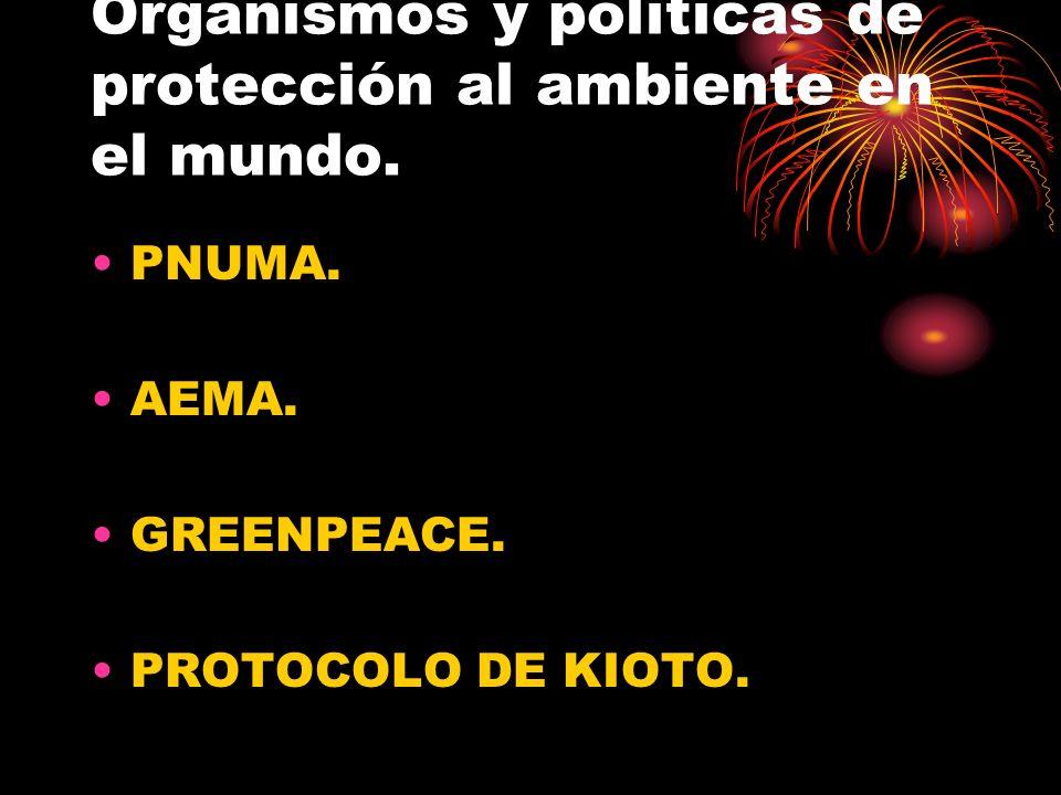 Organismos y políticas de protección al ambiente en el mundo. PNUMA. AEMA. GREENPEACE. PROTOCOLO DE KIOTO.