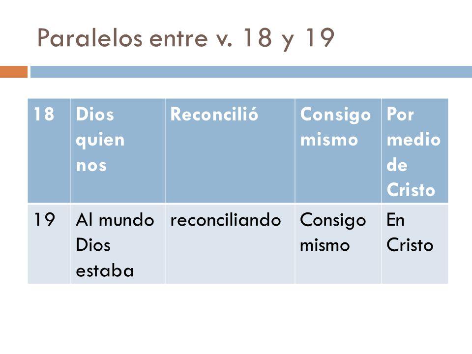 Paralelos entre v. 18 y 19 18Dios quien nos ReconcilióConsigo mismo Por medio de Cristo 19Al mundo Dios estaba reconciliandoConsigo mismo En Cristo
