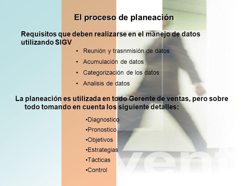 El proceso de planeación La planeación es utilizada en todo Gerente de ventas, pero sobre todo tomando en cuenta los siguiente detalles: Diagnostico P