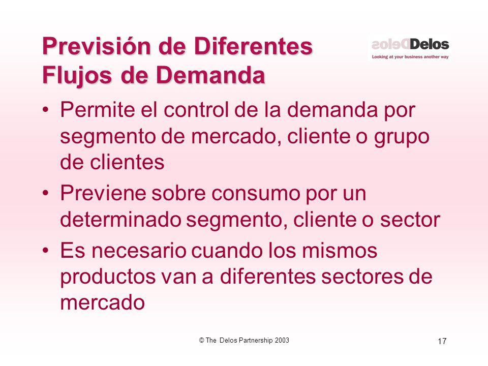 17 © The Delos Partnership 2003 Previsión de Diferentes Flujos de Demanda Permite el control de la demanda por segmento de mercado, cliente o grupo de