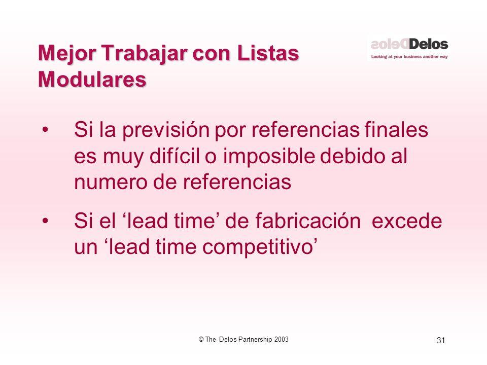31 © The Delos Partnership 2003 Mejor Trabajar con Listas Modulares Si la previsión por referencias finales es muy difícil o imposible debido al numer