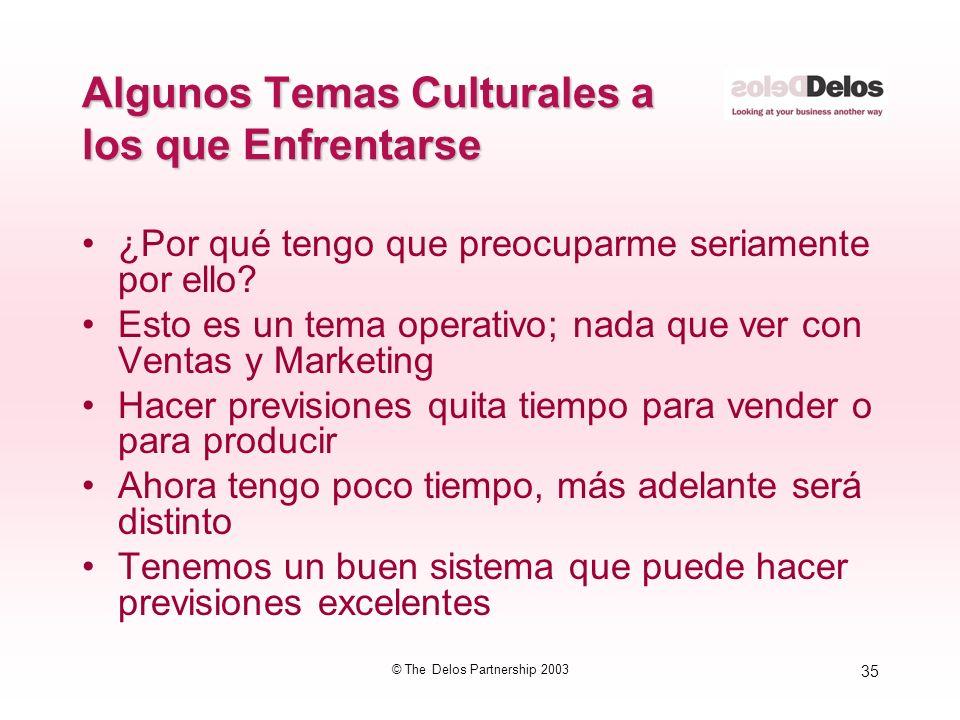 35 © The Delos Partnership 2003 Algunos Temas Culturales a los que Enfrentarse ¿Por qué tengo que preocuparme seriamente por ello? Esto es un tema ope