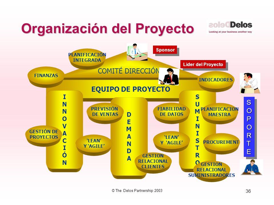 36 © The Delos Partnership 2003 Organización del Proyecto COMITÉ DIRECCIÓN EQUIPO DE PROYECTO INNOVACIÓNINNOVACIÓN DEMANDADEMANDA SUMINISTROSUMINISTRO