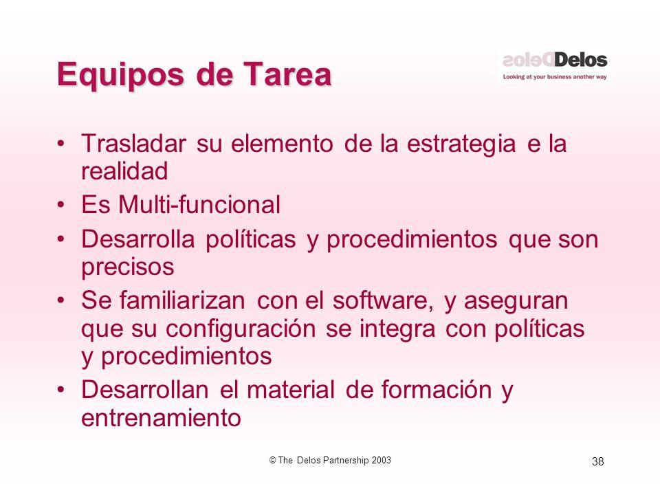 38 © The Delos Partnership 2003 Equipos de Tarea Trasladar su elemento de la estrategia e la realidad Es Multi-funcional Desarrolla políticas y proced