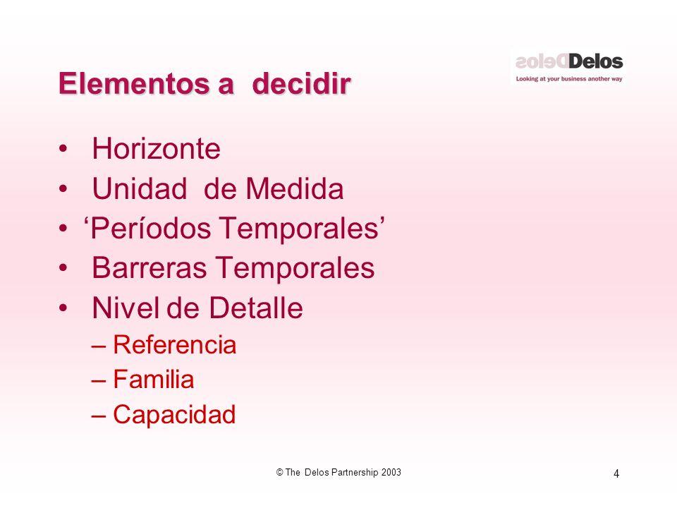 4 © The Delos Partnership 2003 Elementos a decidir Horizonte Unidad de Medida Períodos Temporales Barreras Temporales Nivel de Detalle –Referencia –Fa