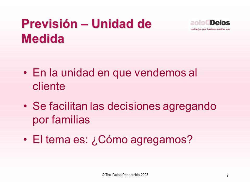 7 © The Delos Partnership 2003 Previsión – Unidad de Medida En la unidad en que vendemos al cliente Se facilitan las decisiones agregando por familias