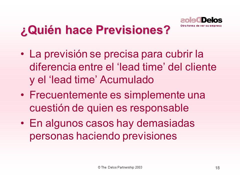 18 © The Delos Partnership 2003 ¿Quién hace Previsiones? La previsión se precisa para cubrir la diferencia entre el lead time del cliente y el lead ti