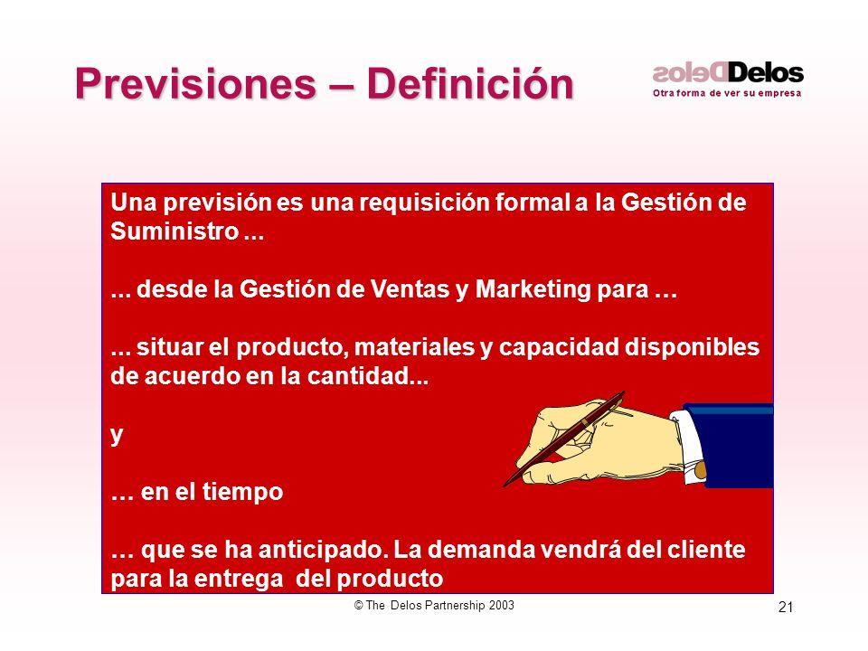 21 © The Delos Partnership 2003 Previsiones – Definición Una previsión es una requisición formal a la Gestión de Suministro...... desde la Gestión de