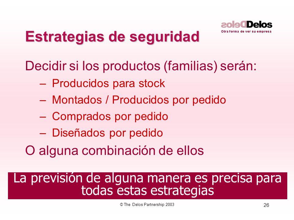 26 © The Delos Partnership 2003 La previsión de alguna manera es precisa para todas estas estrategias Estrategias de seguridad Decidir si los producto