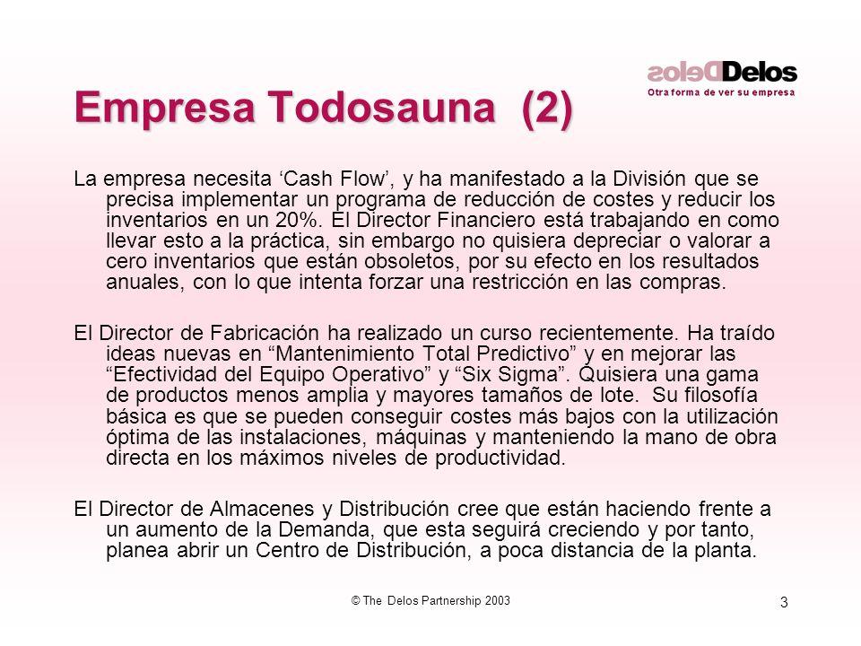 3 © The Delos Partnership 2003 Empresa Todosauna (2) La empresa necesita Cash Flow, y ha manifestado a la División que se precisa implementar un progr