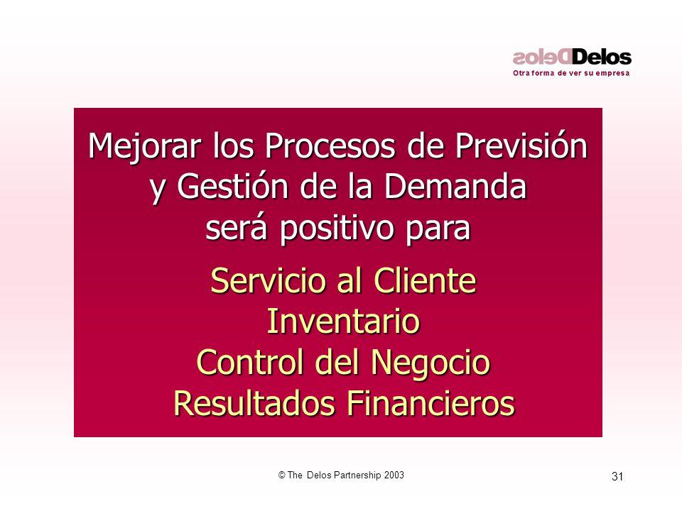 31 © The Delos Partnership 2003 Mejorar los Procesos de Previsión y Gestión de la Demanda será positivo para Servicio al Cliente Servicio al Cliente I