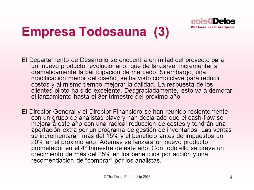 4 © The Delos Partnership 2003 Empresa Todosauna (3) El Departamento de Desarrollo se encuentra en mitad del proyecto para un nuevo producto revolucio