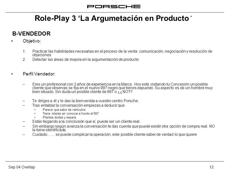 Sep 04 Overlap12 Role-Play 3 La Argumetación en Producto´ Objetivo: 1. Practicar las habilidades necesarias en el proceso de la venta: comunicación, n