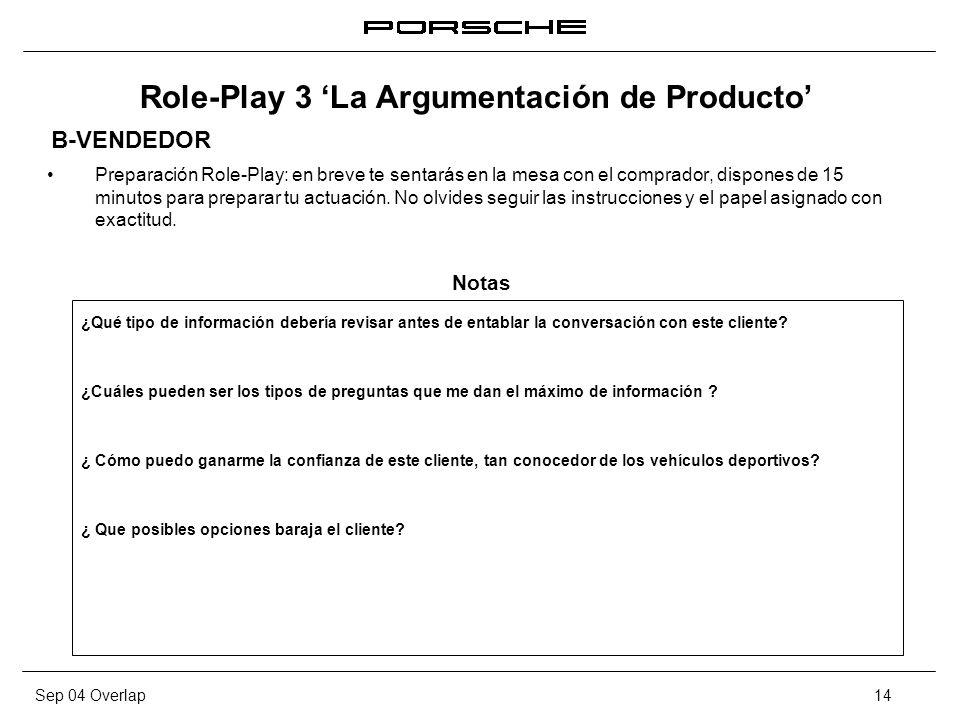 Sep 04 Overlap14 Role-Play 3 La Argumentación de Producto Preparación Role-Play: en breve te sentarás en la mesa con el comprador, dispones de 15 minu