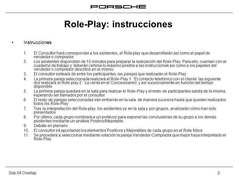 Sep 04 Overlap2 Role-Play: instrucciones Instrucciones 1. El Consultor hará corresponder a los asistentes, el Role play que desarrollarán así como el