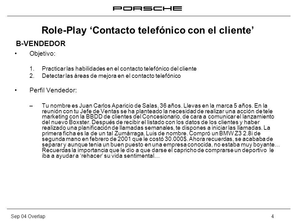 Sep 04 Overlap4 Role-Play Contacto telefónico con el cliente Objetivo: 1. Practicar las habilidades en el contacto telefónico del cliente 2. Detectar