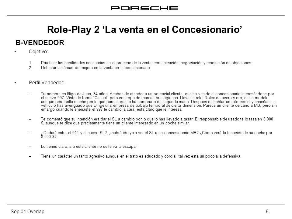 Sep 04 Overlap8 Role-Play 2 La venta en el Concesionario Objetivo: 1. Practicar las habilidades necesarias en el proceso de la venta: comunicación, ne