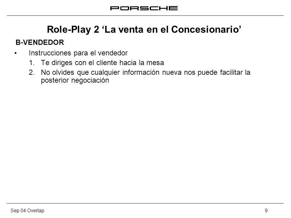 Sep 04 Overlap10 Role-Play 2 La venta en el Concesionario Preparación Role-Play: en breve te sentarás en la mesa con el comprador, dispones de 15 minutos para preparar tu actuación.