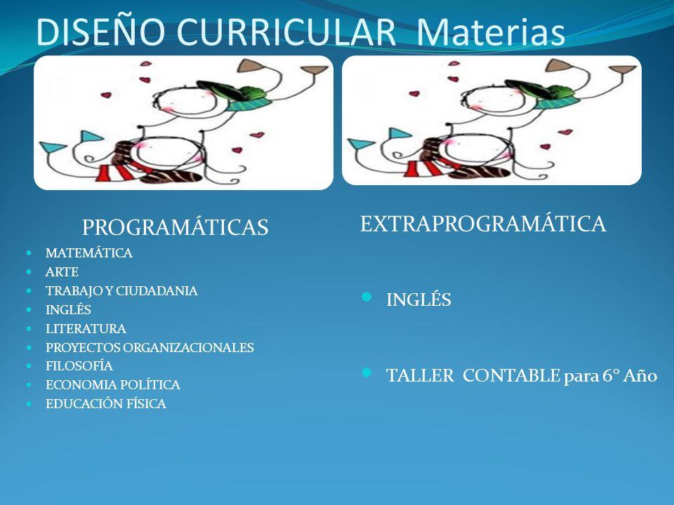 DISEÑO CURRICULAR Materias PROGRAMÁTICAS MATEMÁTICA ARTE TRABAJO Y CIUDADANIA INGLÉS LITERATURA PROYECTOS ORGANIZACIONALES FILOSOFÍA ECONOMIA POLÍTICA