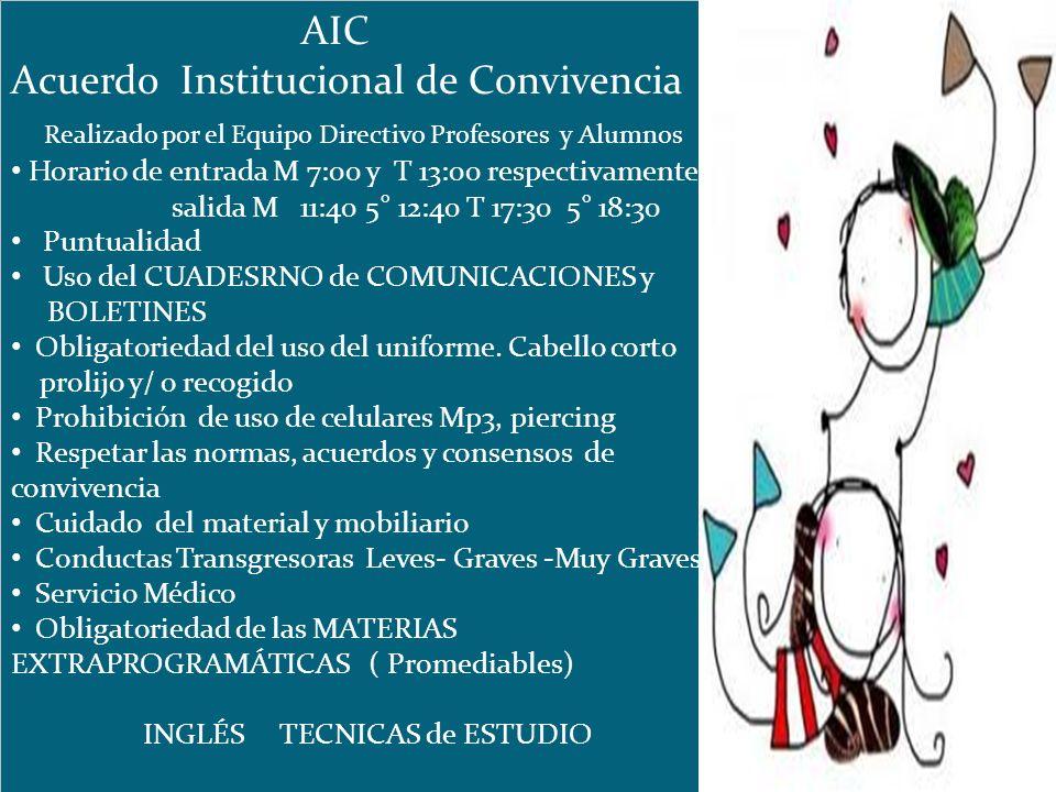 AIC Acuerdo Institucional de Convivencia Realizado por el Equipo Directivo Profesores y Alumnos Horario de entrada M 7:00 y T 13:00 respectivamente sa