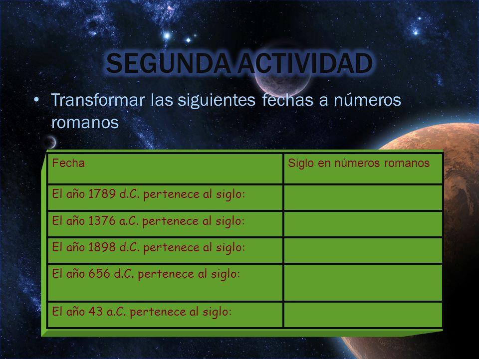 Transformar las siguientes fechas a números romanos Transformar las siguientes fechas a números romanos FechaSiglo en números romanos El año 1789 d.C.