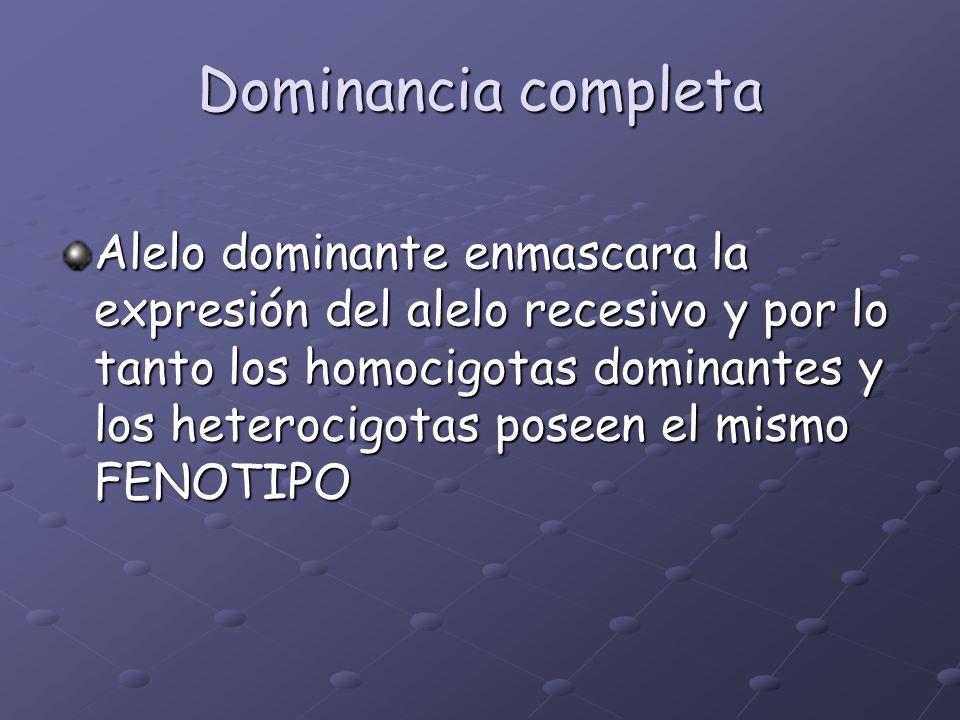 Dominancia completa Alelo dominante enmascara la expresión del alelo recesivo y por lo tanto los homocigotas dominantes y los heterocigotas poseen el