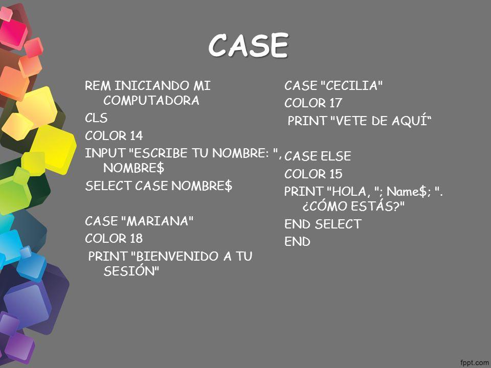 CASE REM INICIANDO MI COMPUTADORA CLS COLOR 14 INPUT