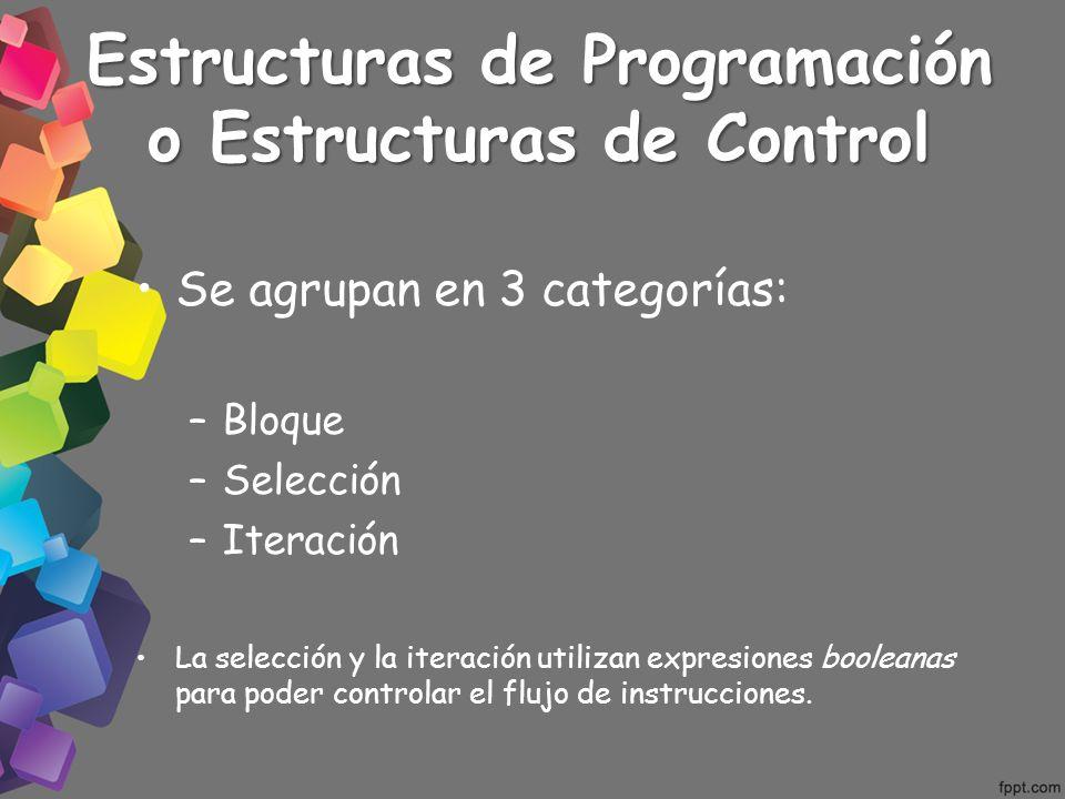Estructuras de Programación o Estructuras de Control Se agrupan en 3 categorías: –Bloque –Selección –Iteración La selección y la iteración utilizan ex