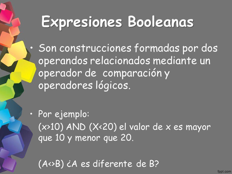 Expresiones Booleanas Son construcciones formadas por dos operandos relacionados mediante un operador de comparación y operadores lógicos. Por ejemplo